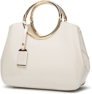 64bcc16c2a53 G-AVERIL 2018 NEW WomensWhite Handbags Ladies Top Handle Bags Patent  Leather Stylish Tote Shoulder