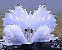 ダイヤモンドアート ラインストーンダイヤモンドモザイク動物のダイヤモンドスクエアドリル壁の装飾ダイヤモンド白鳥の写真は、フル・絵画 MDYJP (Color : 7, Size : Square 30x40cm)