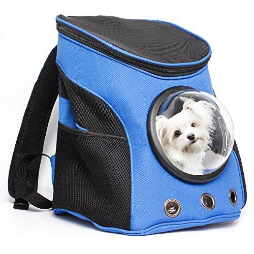 Ducomi® Window - Zaino con Oblò in Nylon Rigido da Viaggio e Bocchette di Aerazione per Cani e Gatti - Trasportino per Cane e Gatto Massima Stabilità e Confort + Regalo Valore di 15 € (M, Blue)