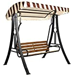 Kaushalendra Outdoor Swing with Canopy Roof Hammock Chair 3 Seat High Strong Iron 350 kg. Capacity