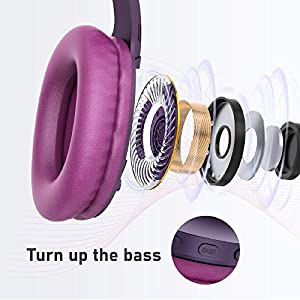 LETSCOM Bluetooth Headphones, 100 Hours Playtime Bluetooth 5.0 Headphones Over Ear with Deep Bass, Hi-Fi Sound and Soft Earpads, Built-in Mic, Wired/Wireless Headset for Home Office-Red Purple