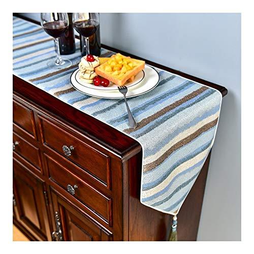 Gu3Je Home Europäischer moderner Baumwolltischläufer Wandteppich Tuch und Quasten Home (Color : Blue, Size : 33x220cm)