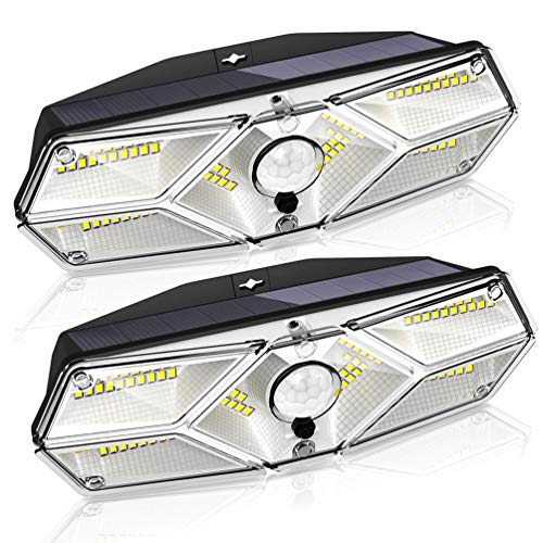 Solarleuchten für Außen, GECOTY【2 Stück】Solar Wandleuchte, 104 LED-Bewegungssensorleuchten mit 3 Modi, IP65 wasserdichte Solar-Sicherheitsleuchte, Solarlampe für Garten Veranda Zaun Patio Garage