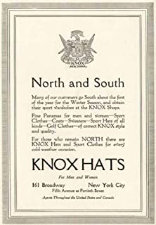 1917 Advertisement for Knox Hats of 161 Broadway in New York City Original Paper Ephemera Authentic Vintage Print Magazine Ad/Article