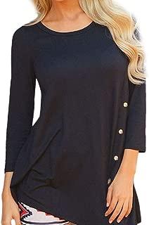 Womens Casual Tops 3/4 Sleeve Swing Tunic Tops Plus Size T Shirt S-6XL Plain Loose Button Irregular Hem Blouses