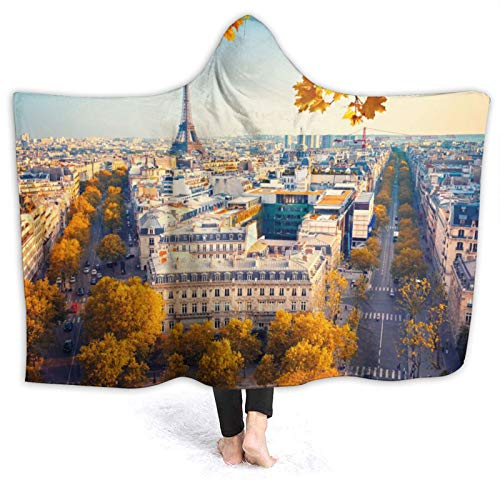Janrely Custom Hooded Blanket,Paris Wallpapers Hd,Soft Sherpa Fleece Wearable Throw Blanket Bed Home Sofa Travel 50'X40'