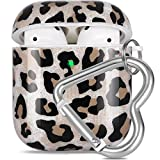 Airpods Case, OTOPO Cute Leopard Airpod Accessories Protective Hard Case Cover Portable & Shockproof Women Girls Men with Heart-Shaped Keychain for Airpods 2/1 Charging Case (Leopard)