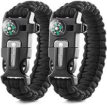 X-Plore Gear Emergency Paracord Bracelets | Set of 2| The Ultimate Tactical Survival Gear| Flint Fire Starter, Whistle, Compass & Scraper/Knife| Best Wilderness Survival-Kit - Black(R)/Black(R)