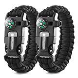 X-Plore Gear Emergency Paracord Bracelets | Set of 2| The Ultimate Tactical Survival Gear| Flint Fire Starter, Whistle, Compass & Scraper/Knife| Best Wilderness Survival-Kit - Black(R)/Black(R)