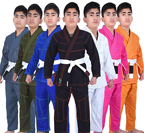 Kids BJJ Gi for Kids IBJJF Youth Grappling Children's Brazilian Jiu Jitsu Gi Kimono Lightweight Uniform with Free Belt (Military Green, K000)