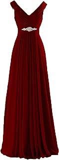 Long V Neck Bridesmaid Dress Chiffon Rhinestone Evening Prom Gowns