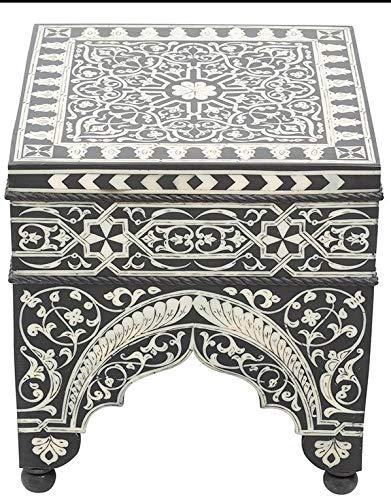 ABYAD Mesa auxiliar de resina blanca y negra – cuadrada – altura 50 cm x ancho 45 cm