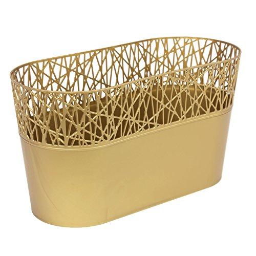 Ovale cache-pot CITY 28.5 cm en plastique romantique style, en dorée couleur