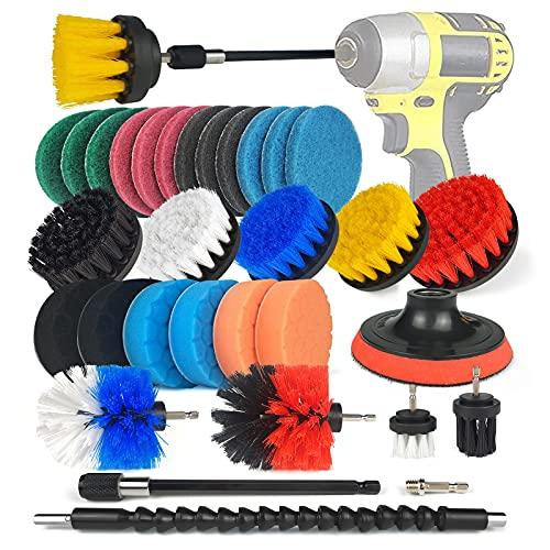 Drill Brush - Juego de 31 cepillos para taladro, cepillo de limpieza para llantas, bañeras, azulejos, cocina, coche, esquinas de sofá