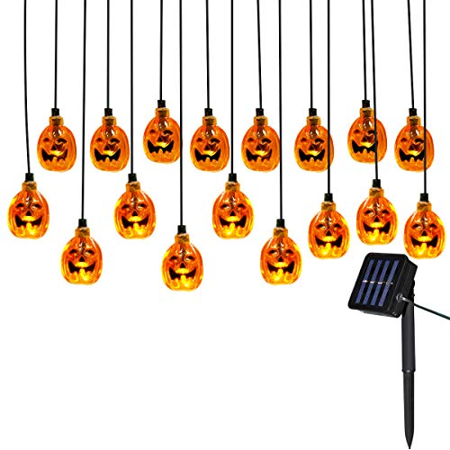 Yasolote 4.8m 20 LED Luci Solari Ghirlanda, Luci Stringa all'aperto di Halloween, Luci Decorative Zucca LED per Halloween, Natale, Patio, Casa (Bianco Caldo)
