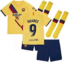 Fimng Suarez #9 2019-2020 FC Barcelona Kids/Youths Away Soccer Jersey/Short/Socks Colour Yellow