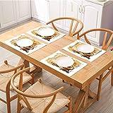Manteles individuales para mesa de comedor, diseño vintage de café, un molino antiguo y bolsa de frijoles con palitos de canela, color marrón, manteles de mesa para restaurantes y fiestas, juego de 8