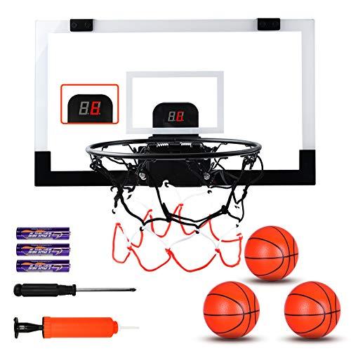 Basketball Hoop Indoor, 17'x13' Wall Mounted Basketball Hoop Set, Basketball Set Over Door with 3 Balls & Electronic Scoreboard, Mini Basketball Hoop for Kids & Adults, Basketball Gifts for Teens