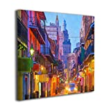 French Quarter New Orleans Louisiana USA Oil Paintings On Canvas Modern Square Stretched and Framed Artwork Ready to Hang Wall Art for Home Office Wall Decor 20'x20'
