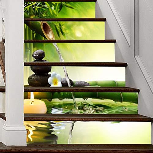 A.Monamour Pegatinas de Escalera Autoadhesivos 3D Zen Verde Bambú Vela Agua Spa Piedra Vinilo Impermeable Pegatinas de Pared Adhesivos Etiquetas Pegatinas de Baldosas DIY 6PCs