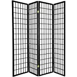 Legacy Decor 4 Panels Japanese Oriental Style Room Screen Divider Black