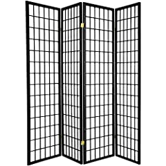 """Black Color - Measurements 71"""" High X 70"""" Wide x 1' Thick Made of fine Pine Wood and rice paper like insert Shoji style wood frame with non-transparent white insert 2-way hinges for easy folding and storage Assembled - for indoor only privacy & decor..."""