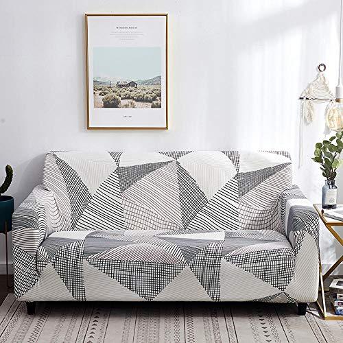 Sofa Für Sofabezug Stretch Sofabezug Schonbezug Bedruckter Elastischer Stretch-Bezug Für Ecksofa Einzel- / Zwei- / DREI- / Viersitzer Geometrie In Weißgrau
