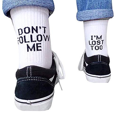 Comtervi Lustige Socken Don't Follow Me I'm Lost Too socken Frauen Männer Socken Brief bestickt für Business Sports Freizeit Täglicher Gebrauch (schwarz)