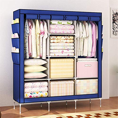 COLiJOL Vikbar duk garderob bärbar klädgarderob icke-vävt tyg garderob förvaring organisatör 130 cm längd x 45 cm bredd x 175 cm bärbar garderob (färg: Blå), blå