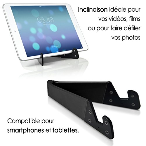 KARYLAX Seluxion - Soporte Universal Plegable de Bolsillo, Color Negro para Tablet y Smartphone Apple iPhone 6, iPhone 6S, iPhone 7, iPhone 7S, iPhone 6 Plus, iPhone 7 Plus