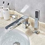 FAE&MGJ Duschsystem Waschtischarmaturen Messing Bad Wasserhahn Waschbecken Mixer Waschtischarmatur Schwenkauslauf Deck MontiertWaschtischarmatur Warmes und kaltes Wasser