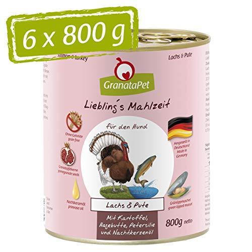 GranataPet Liebling's Mahlzeit Lachs & Pute, Nassfutter für Hunde, Hundefutter ohne Getreide & ohne Zuckerzusätze, Alleinfuttermittel, 6 x 800 g