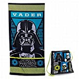 Disney Star Wars Darth Vader Cotton Beach Towel & Cinch Tote Bag Set