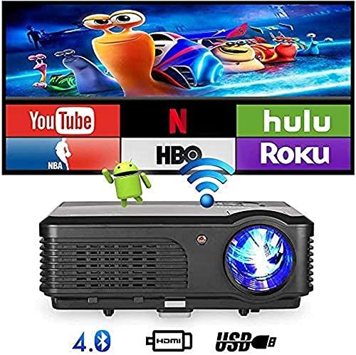 Proyector de Video Proyector LED inalámbrico Bluetooth - Android 6.0 Wi-Fi 4400 lúmenes Proyector Multimedia LCD HD 1080p Cine en casa Digital Proyector de Juegos de películas para exteriore