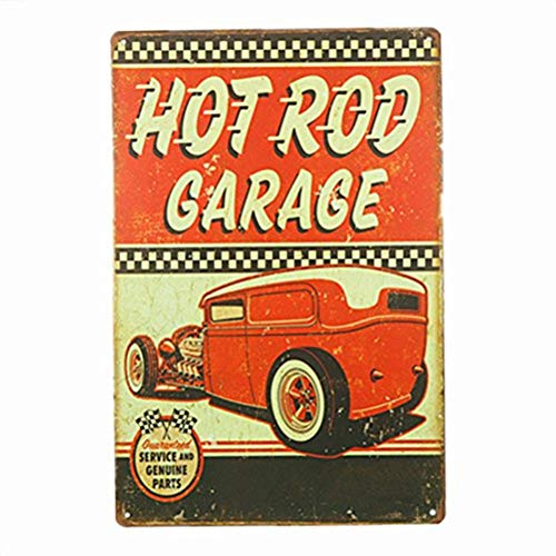 Hot Rod Repair Service and Genuine Parts Retro Vintage Decor Metal Tin Sign 12 X 8 Inches (M0043)