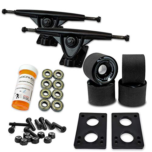 "Yocaher Longboard Skateboard Trucks Combo Set 71mm Wheels + 7""/180mm Heavy Duty Aluminum Black Trucks, Bearing, Riser Pad, and Longboard Hardware Package"