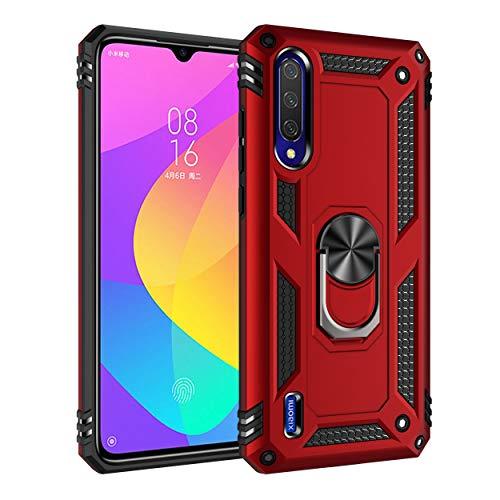 Capa Xiaomi Mi CC9/A3Lite Case Protetor Material militar TPU macio +couro de PC proteção dupla camada de metal magnético para carro Suporte 360 graus girado anti-queda e anti-riscos capa:Vermelho