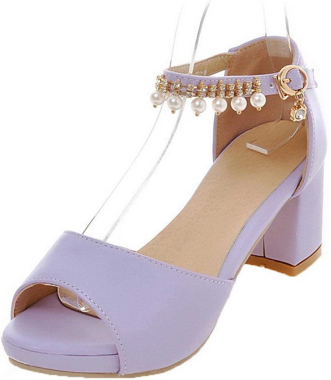 AmoonyFashion Women's PU Buckle Peep-Toe Kitten-Heels Solid Sandals