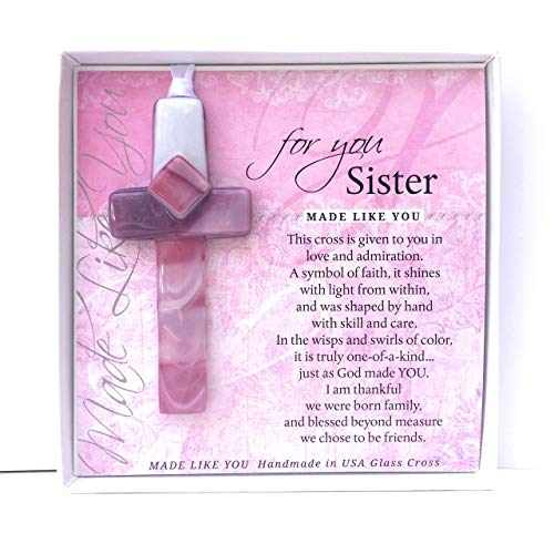 Handmade Glass Cross for Sister with Poem- Gift for Sister on Christmas, Mother's Day, Birthday