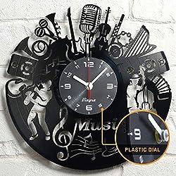 Vinyl Record Music Design Clock Music Wall Art Vinyl Record Clock Home Art Music Lover Gift Vintage Decor Handcrafted Retro Wall Decorations Birthday - Singer Gift Idea - Music Wall Decor - Black