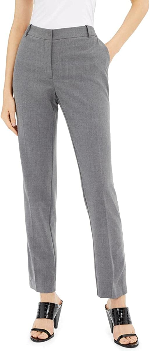 Alfani Womens Gray Zippered Heather Straight Leg Wear to Work Pants Size 18