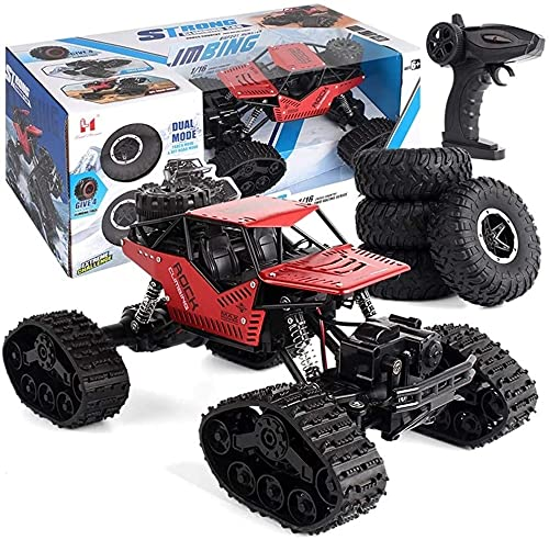 Zhangl 2-in-1 4WD RC Car, 1:16 Remote Control Tracked Vehicle 2.4Ghz Radio Remote Control Off Road Cars, Anti-Skid Outdoor Indoor Crawler Type Snow/Sand Toy Car, Perfect for Kids (Red) (Color : Red)