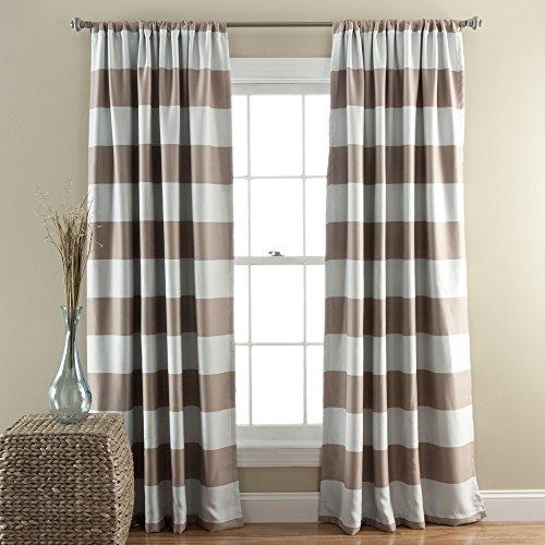 "Lush Decor, Taupe Stripe Blackout Curtains   Room Darkening Window Panel Set (Pair), 84"" x 52"