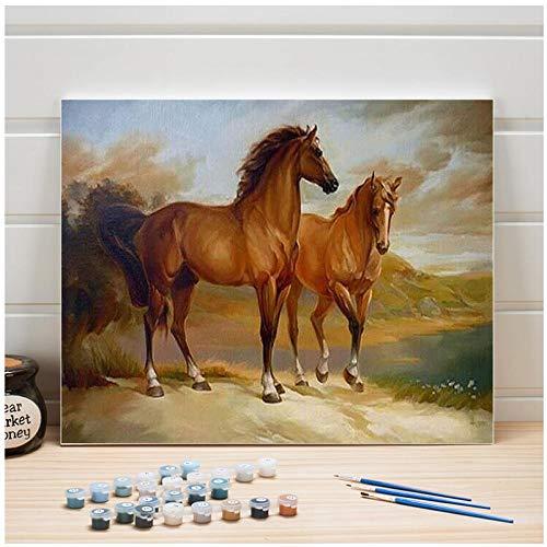 Verf op nummer pakket Dieren Paard DIY Schilderen Op Canvas Acryl Kleur Art Muurfoto's voor Woonkamer Home Decor Tekenen 40x50cm Frameless
