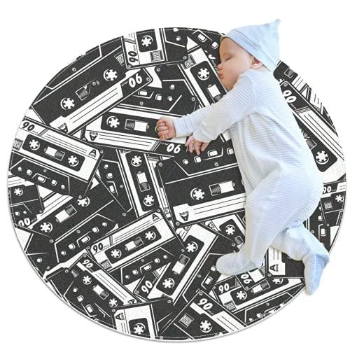 Alfombra de área redonda con patrón de cinta de cassette de 81 cm (81 m) tradicional, antideslizante, para sofá, sala de estar, dormitorio, decoración moderna del hogar