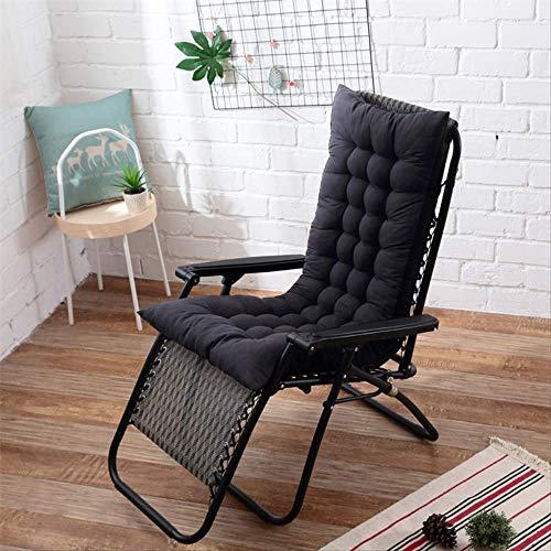 ZFM Sun Lounger Cushion Rocking Chair Cushions Pearl Cotton Lounge Chair Cushions Thicken Lengthen Folding Wicker Chair Pads Patio Furniture Overstuffed Bench cushion-48X125cm Black