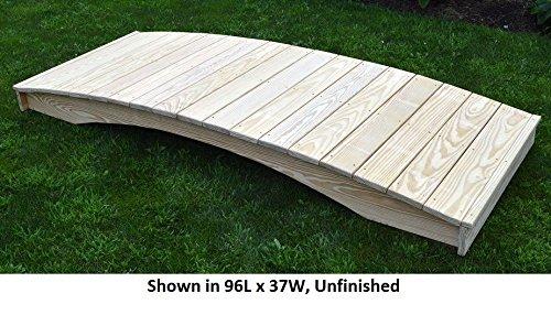 Amish-Made Weight-Bearing Pine 4' x 12' Plank Garden Bridge, Linden Leaf Stain