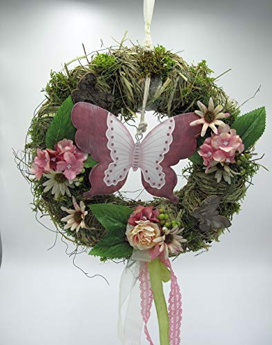 Small-Preis Türkranz Wandkranz Rattankranz Frühling mit Schmetterling Handarbeit Ø 28 cm - Frühling - Sommer - Willkommensgruß 977