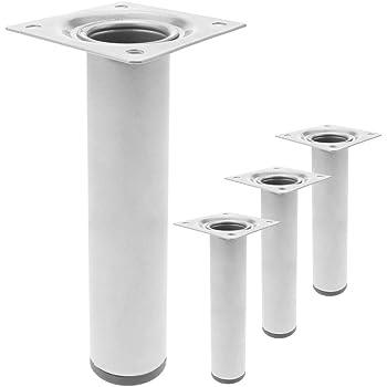 patas de muebles para sof/á//mesa//gabinetes//estantes color plateado protectores de suelo Patas de repuesto para muebles de acero inoxidable de 12 cm de altura patas ajustables de mesa para muebles
