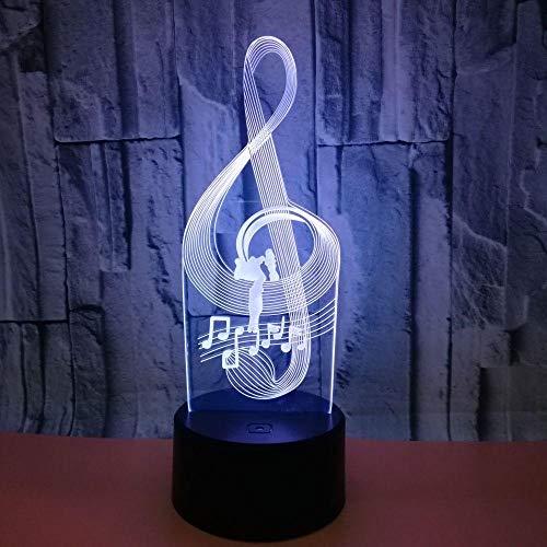 Luz Nocturna En 3D Notas Musicales Luz Led Táctil Que Cambia De Color Colorida Ilusión Creativa Luz Estéreo Visual Luz De La Atmósfera De La Cabecera-Toque + Control Remoto
